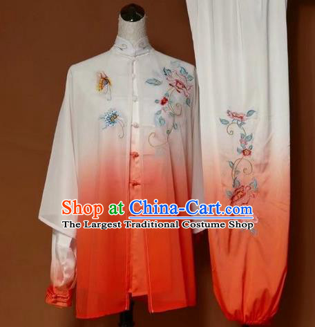 Chinese Traditional Martial Arts Kung Fu Competition Costume Tai Chi Group Embroidered Peony Orange Clothing for Women