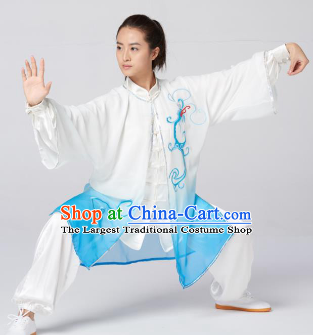 Chinese Traditional Martial Arts Kung Fu Competition Costume Tai Chi Group Embroidered Blue Silk Clothing for Women