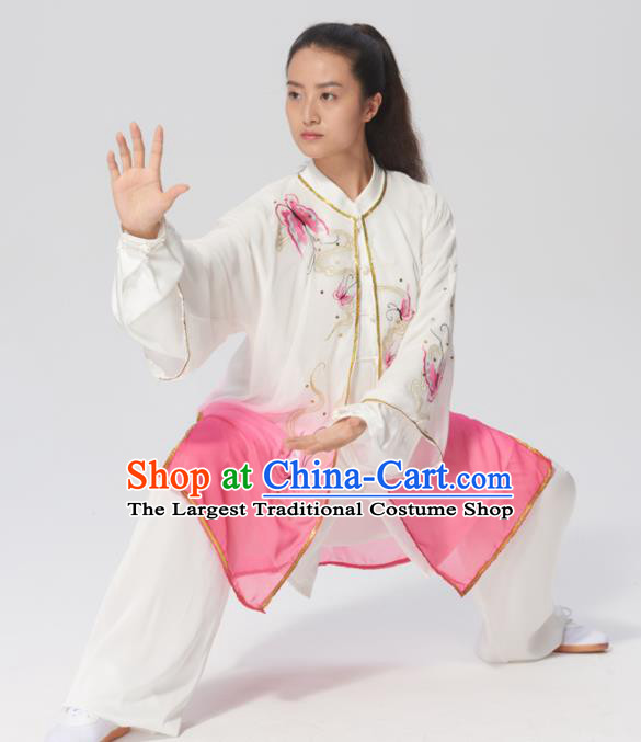 Chinese Traditional Tai Chi Group Embroidered Butterfly Pink Costume Martial Arts Kung Fu Competition Clothing for Women