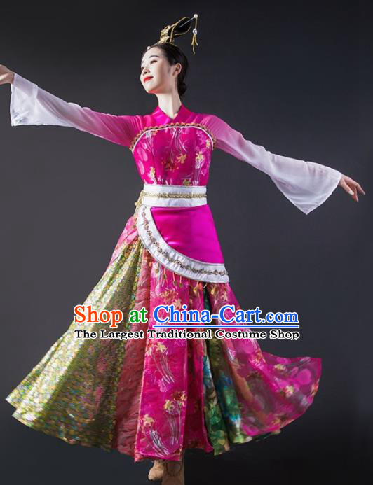 Chinese Traditional Classical Dance Costume Palace Peri Dance Rosy Dress for Women
