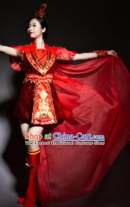 Chinese Traditional National Drum Dance Red Clothing Folk Dance Costume for Women