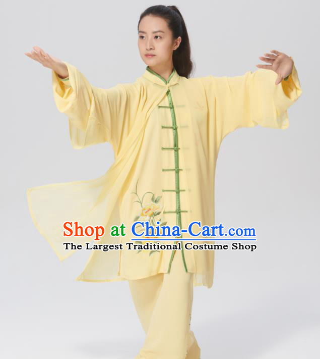 Chinese Traditional Tai Chi Group Embroidered Yellow Silk Costume Martial Arts Kung Fu Competition Clothing for Women