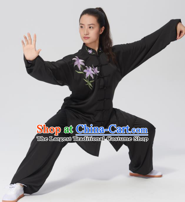 Chinese Traditional Tai Chi Group Embroidered Orchid Black Costume Martial Arts Kung Fu Competition Clothing for Women