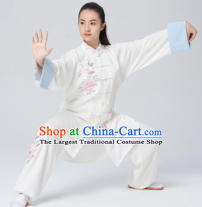 Chinese Traditional Tai Chi Group Embroidered Peony White Costume Martial Arts Kung Fu Competition Clothing for Women
