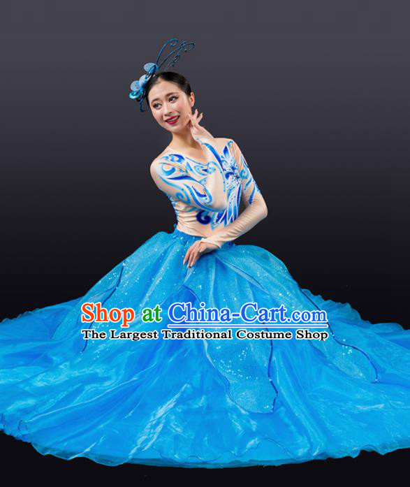Chinese Traditional Chorus Blue Bubble Dress Modern Dance Stage Performance Costume for Women
