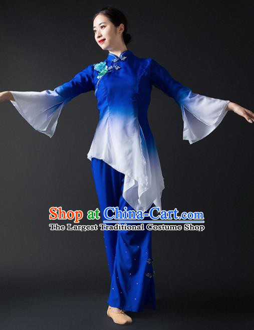 Chinese Traditional National Yangko Dance Blue Clothing Folk Dance Fan Dance Costume for Women