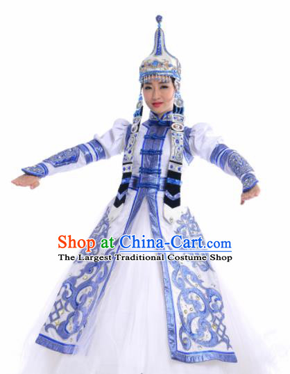 Chinese Traditional Mongol Nationality Costume Mongolian Ethnic Dance Embroidery Blue Dress for Women