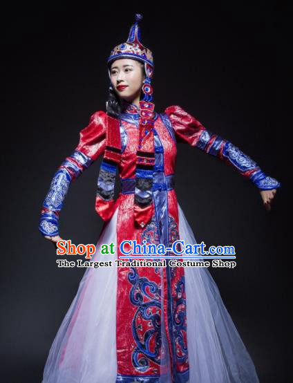 Chinese Traditional Mongol Nationality Costume Mongolian Ethnic Dance Embroidery Red Dress for Women