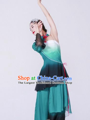 Chinese Traditional Classical Dance Costume Umbrella Dance Green Dress for Women