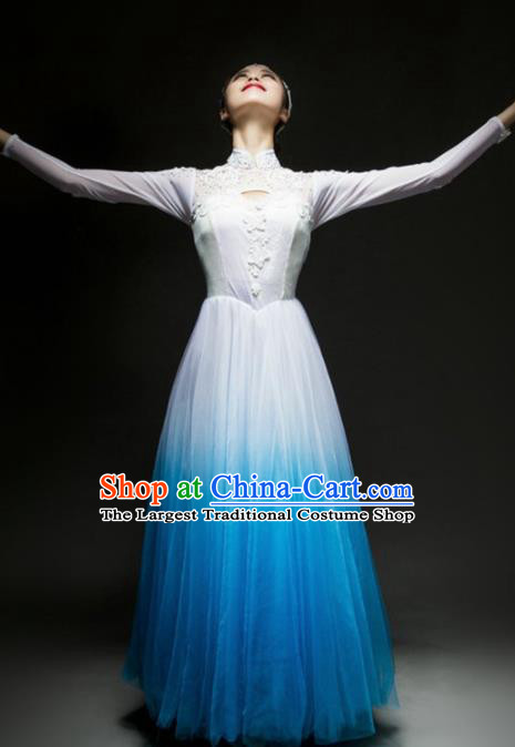 Chinese Traditional Chorus Blue Dress Modern Dance Stage Performance Costume for Women