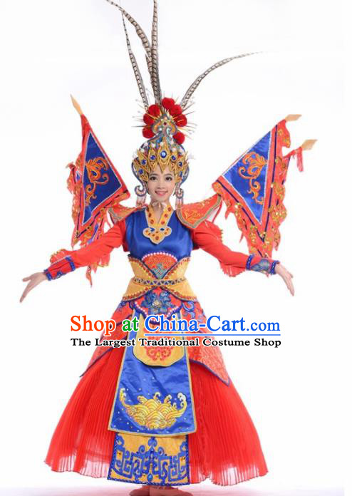 Chinese Traditional National Dance Clothing Classical Dance Beijing Opera Red Dress for Women