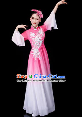 Chinese Traditional Classical Fan Dance Costume Umbrella Dance Pink Dress for Women