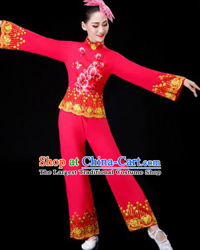 Chinese Traditional National Dance Clothing Folk Dance Yangko Dance Red Clothing for Women