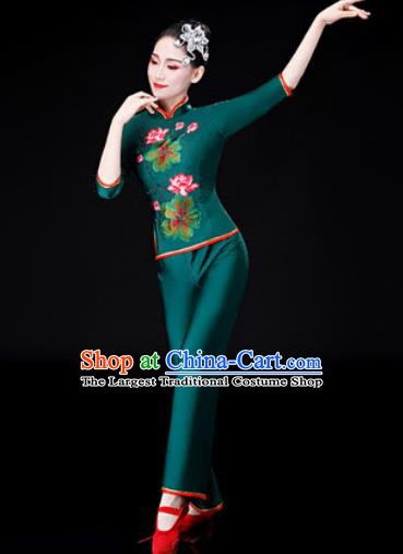 Chinese Traditional National Dance Printing Lotus Clothing Folk Dance Yangko Dance Green Clothing for Women
