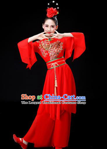 Chinese Traditional Classical Dance Costume Umbrella Dance Red Dress for Women