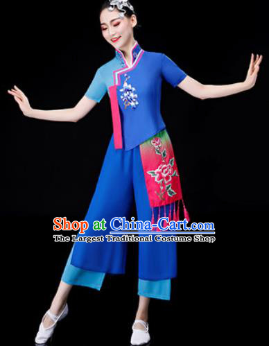 Chinese Traditional National Dance Blue Clothing Folk Dance Yangko Dance Clothing for Women