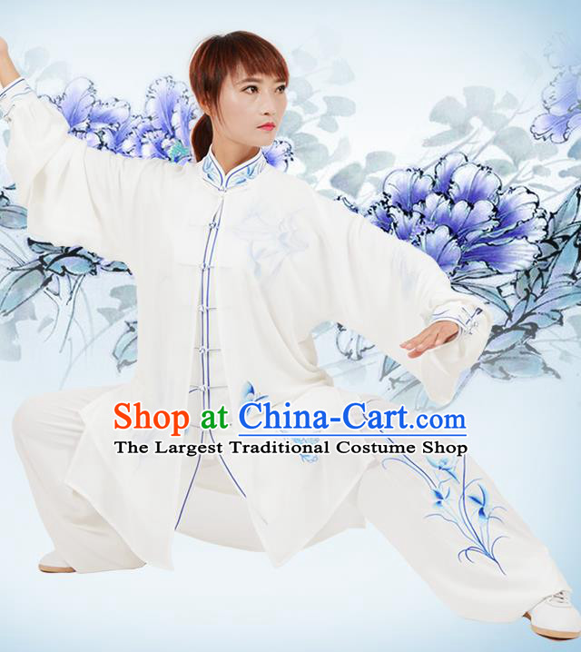 Chinese Traditional Kung Fu Printing Orchid White Costume Martial Arts Tai Ji Competition Clothing for Women