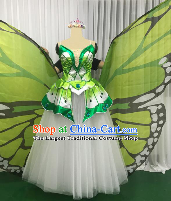 Chinese Traditional Green Butterfly Dance Dress Modern Dance Stage Performance Costume for Women