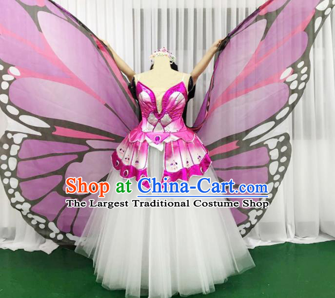 Chinese Traditional Pink Butterfly Dance Dress Modern Dance Stage Performance Costume for Women