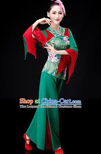 Chinese Traditional Folk Dance Green Clothing Yangko Group Dance Stage Performance Costume for Women