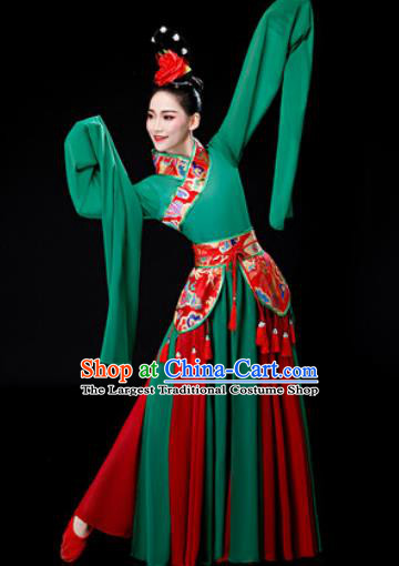 Chinese Traditional Classical Dance Water Sleeve Green Dress Umbrella Dance Stage Performance Costume for Women