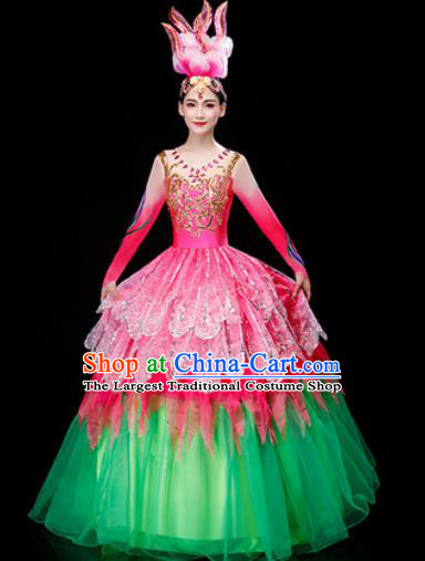 Chinese Traditional Spring Festival Gala Opening Dance Pink Dress Peony Dance Stage Performance Costume for Women