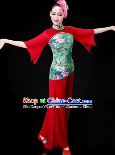 Chinese Traditional Folk Dance Red Clothing Yangko Group Dance Stage Performance Costume for Women