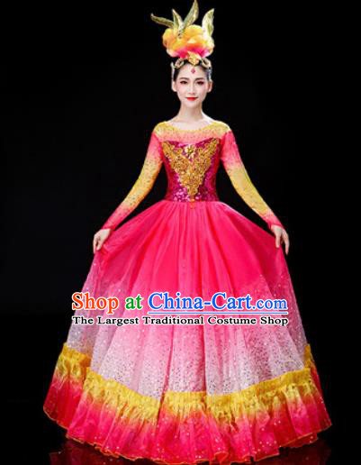 Chinese Traditional Spring Festival Gala Opening Dance Rosy Dress Peony Dance Stage Performance Costume for Women