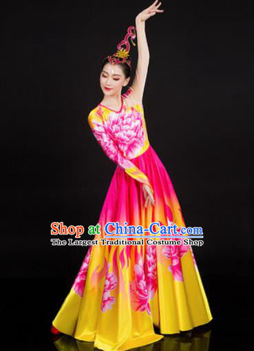 Chinese Traditional Classical Dance Printing Peony Dress Umbrella Dance Stage Performance Costume for Women