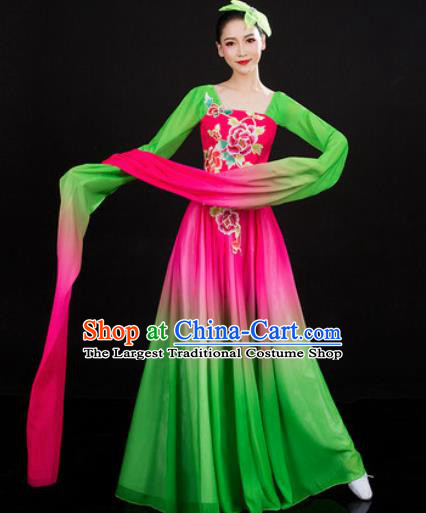 Chinese Traditional Classical Dance Printing Peony Green Dress Umbrella Dance Stage Performance Costume for Women