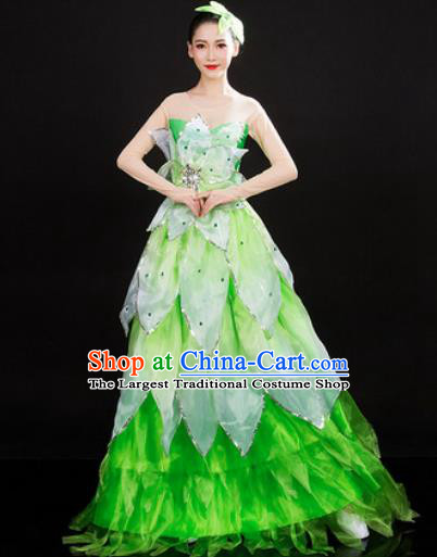 Chinese Traditional Spring Festival Gala Opening Dance Green Dress Peony Dance Stage Performance Costume for Women
