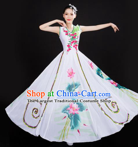 Chinese Traditional Classical Dance Printing Lotus Dress Umbrella Dance Stage Performance Costume for Women