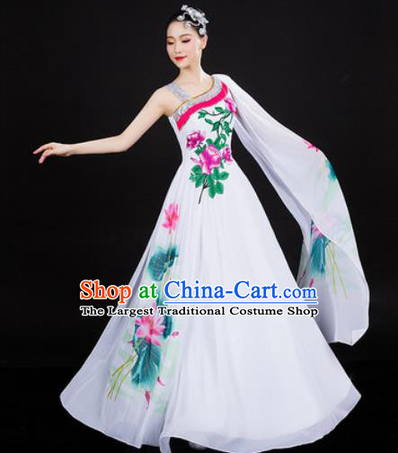 Chinese Traditional Classical Dance White Dress Lotus Dance Stage Performance Costume for Women