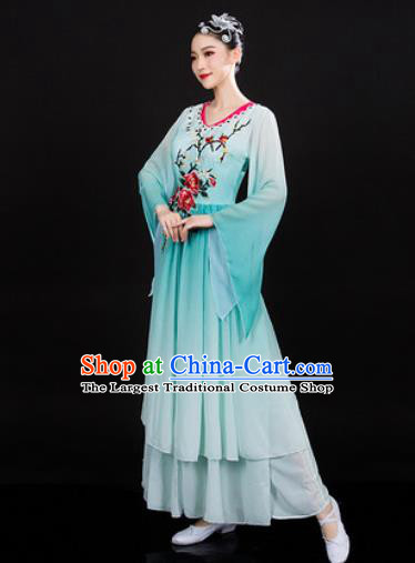 Chinese Traditional Classical Dance Green Dress Umbrella Dance Stage Performance Costume for Women