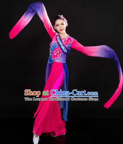 Chinese Traditional Folk Dance Rosy Clothing Yangko Group Dance Stage Performance Costume for Women