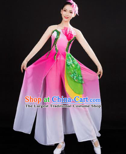 Chinese Traditional Classical Dance Pink Dress Umbrella Dance Stage Performance Costume for Women