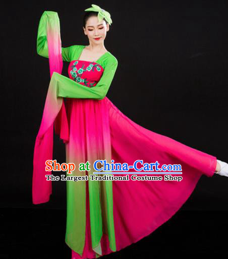 Chinese Traditional Classical Dance Water Sleeve Dress Umbrella Dance Stage Performance Costume for Women