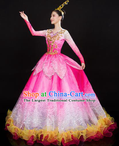 Chinese Traditional Opening Dance Pink Dress Spring Festival Gala Peony Dance Stage Performance Costume for Women