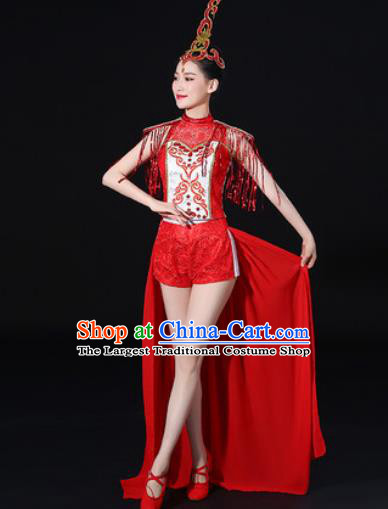 Chinese Traditional Folk Dance Red Clothing Group Drum Dance Stage Performance Costume for Women