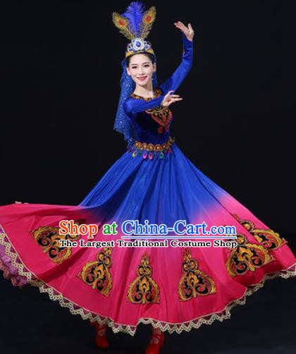 Traditional Chinese Uyghur Nationality Dress Uigurian Folk Dance Ethnic Costume for Women