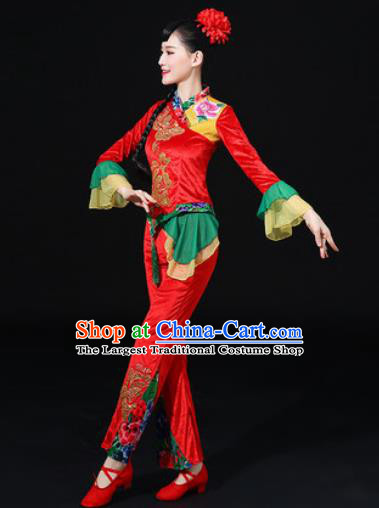 Chinese Traditional Folk Dance Fan Dance Red Clothing Group Yangko Dance Stage Performance Costume for Women