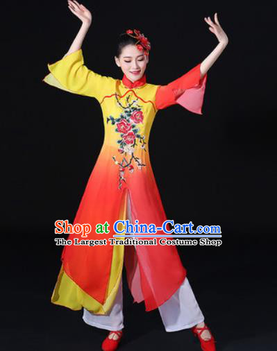 Chinese Traditional Classical Dance Dress Umbrella Dance Stage Performance Costume for Women