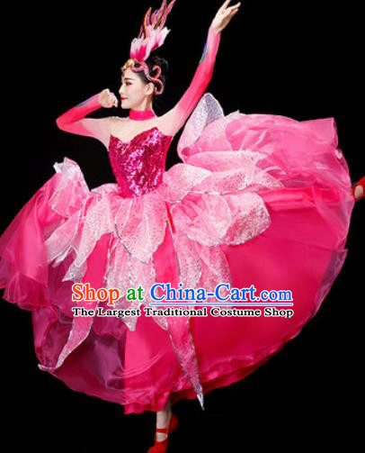 Chinese Traditional Opening Dance Pink Dress Lotus Dance Stage Performance Costume for Women