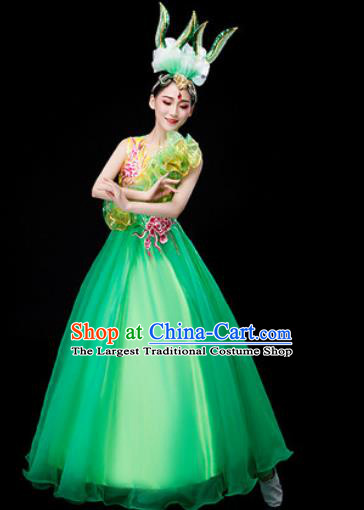 Chinese Traditional Opening Dance Green Dress Peony Dance Stage Performance Costume for Women