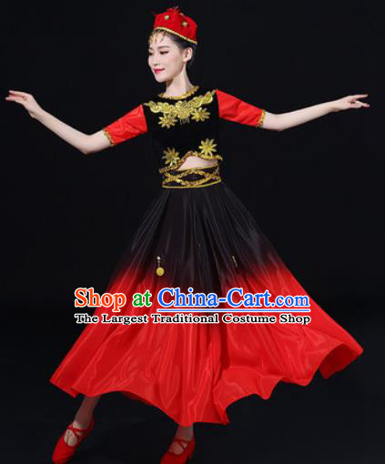 Traditional Chinese Uyghur Nationality Folk Dance Dress Uigurian Ethnic Costume for Women
