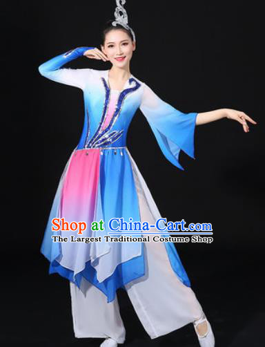 Chinese Traditional Classical Lotus Dance Blue Dress Umbrella Dance Stage Performance Costume for Women