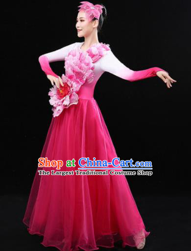 Chinese Traditional Chorus Modern Dance Pink Dress Opening Peony Dance Stage Performance Costume for Women
