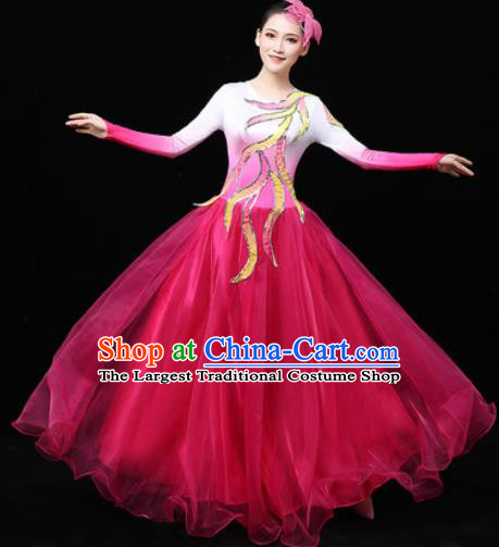 Chinese Traditional Chorus Modern Dance Rosy Veil Dress Opening Peony Dance Stage Performance Costume for Women