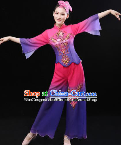 Chinese Traditional Folk Dance Fan Dance Clothing Group Yangko Dance Stage Performance Costume for Women