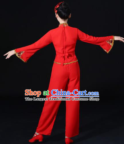 Chinese Traditional Fan Dance Red Clothing Group Yangko Dance Folk Dance Stage Performance Costume for Women